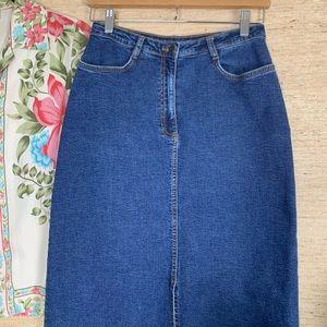Harold's Dark Wash Denim Two Pocket Maxi Skirt